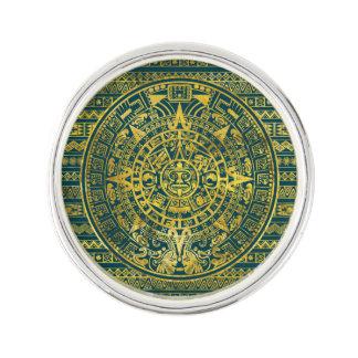 Gold  Aztec Inca Mayan Calendar Lapel Pin