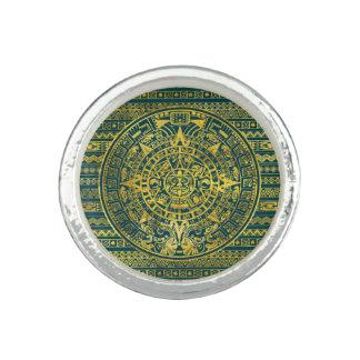 Gold  Aztec Inca Mayan Calendar Rings