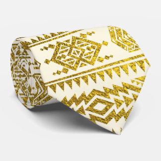 Gold  Aztec Peruvian Tribal Pattern Tie