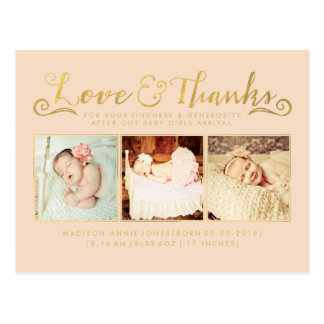 Gold Baby Birth Announcement Sip See Postcard