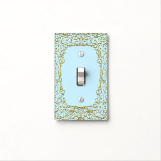 Gold Baby Light Blue Glitter Princess Filigree Light Switch Cover
