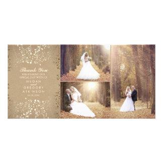 Gold Baby's Breath Elegant Wedding Photo Thank You Custom Photo Card