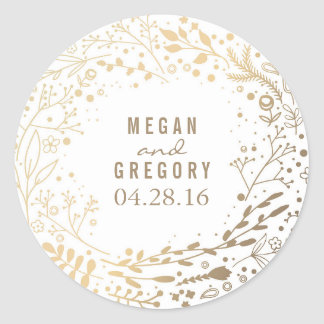 Gold Baby's Breath Floral Bouquet White Cute Round Sticker