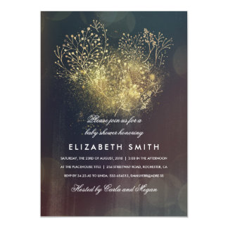 Gold Baby's Breath Floral Vintage Baby Shower Card