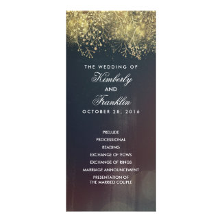Gold Baby's Breath Floral Vintage Wedding Programs Customized Rack Card