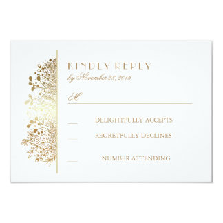 Gold Baby's Breath Floral Wedding RSVP Cards