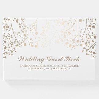 Gold Baby's Breath Floral White Elegant Wedding Guest Book