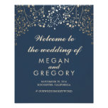 Gold Baby's Breath Navy Wedding Welcome Sign Poster