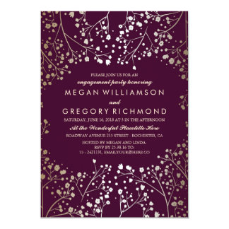 "Gold Baby's Breath Plum Engagement Party 5"" X 7"" Invitation Card"