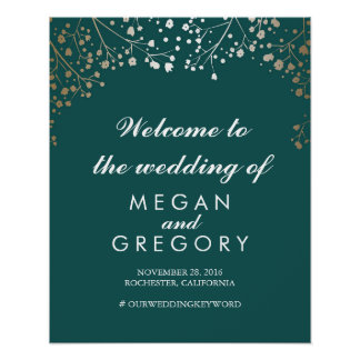 Gold Baby's Breath Teal Wedding Welcome Sign