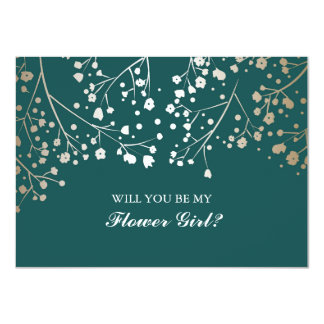Gold Baby's Breath Wedding Flower Girl Invitation