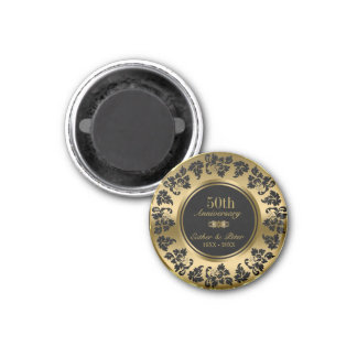 Gold Background And Black Damask- Gold Anniversary 1 Inch Round Magnet