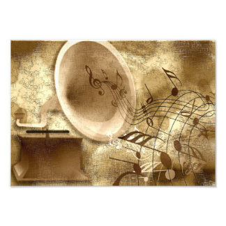 Gold Background with Gramophone Photo Print