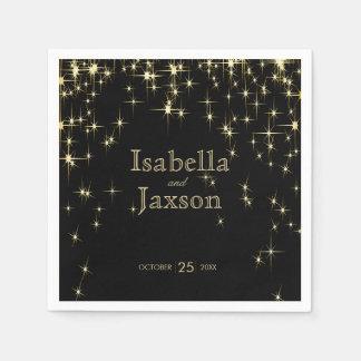 Gold Bar & Black Starlights Wedding 2 Paper Napkin