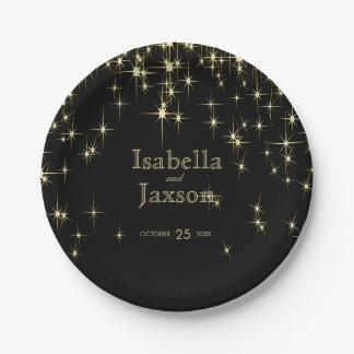 Gold Bar & Black Starlights Wedding 2 Paper Plate