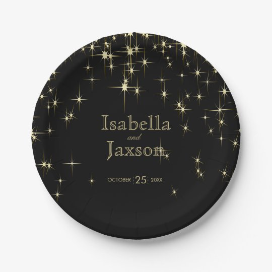 Gold Bar & Black Starlights Wedding 2 Paper Plate