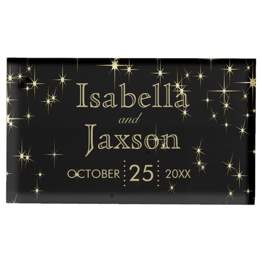 Gold Bar & Black Starlights Wedding 2 Table Number Holder