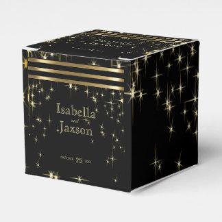 Gold Bar & Black Starlights Wedding Favor Box
