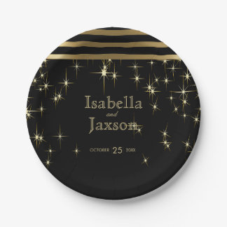 Gold Bar & Black Starlights Wedding Paper Plate