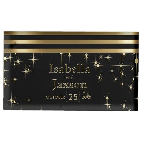 Gold Bar & Black Starlights Wedding Table Card Holder