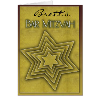 Gold Bar Mitzvah / Star of David Card