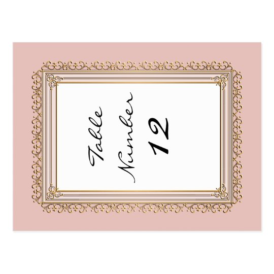 Gold Baroque Classic Formal Elegant Table Numbers Postcard