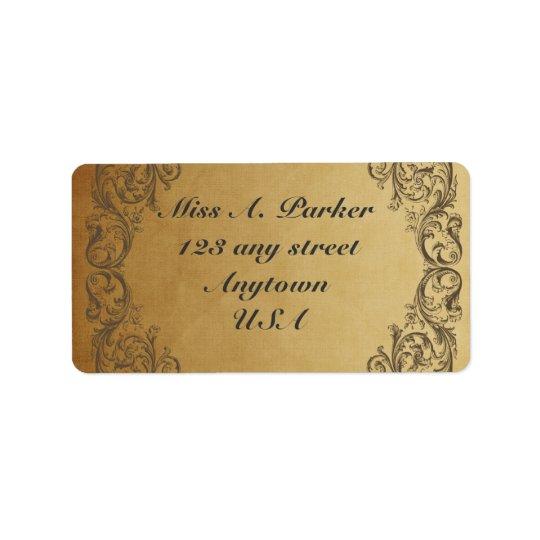 Gold Baroque ornate Elegant Address labels