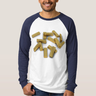 Gold bars in bulk on a white background t-shirts
