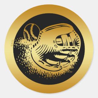 GOLD BASEBALL GLOVE AND BALL ROUND STICKER