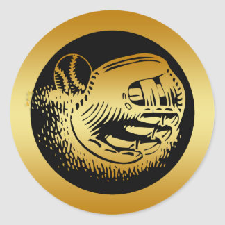 GOLD BASEBALL GLOVE AND BALL ROUND STICKERS