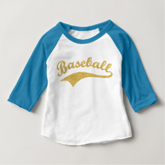 Gold Baseball Text Personalized Baby T-Shirt