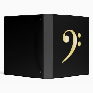 Gold Bass Clef 3 Ring Binders
