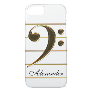 Gold Bass Clef Music Note iPhone 8/7 Case