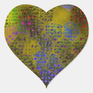 Gold Batik Heart Stickers