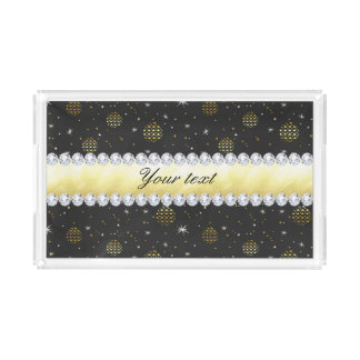 Gold Baubles Stars and Diamonds Bling Black Acrylic Tray