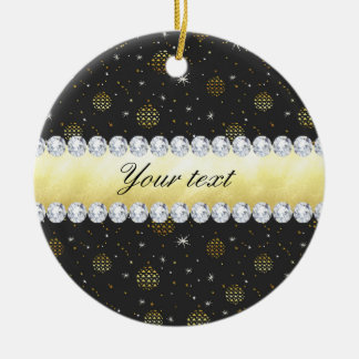 Gold Baubles Stars and Diamonds Bling Black Ceramic Ornament