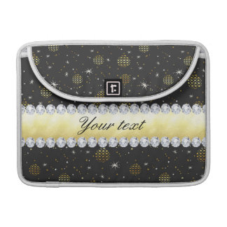 Gold Baubles Stars and Diamonds Bling Black MacBook Pro Sleeve