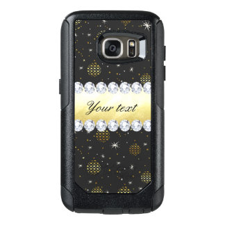 Gold Baubles Stars and Diamonds Bling Black OtterBox Samsung Galaxy S7 Case