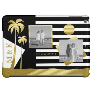 Gold Beach Black Stripes Instagram Photos Monogram iPad Air Cases