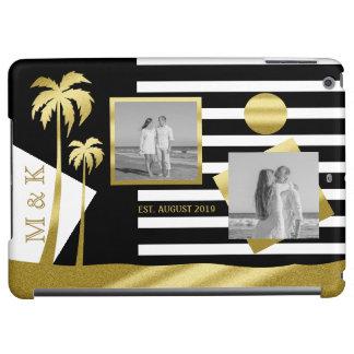Gold Beach Black Stripes Instagram Photos Monogram iPad Air Cover