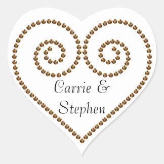 Gold Bead Heart Print Sticker