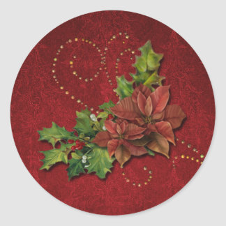 Gold Beaded Swirls and Christmas Floral Round Sticker