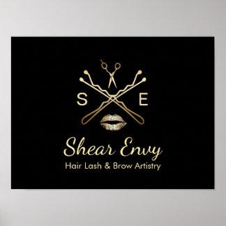 Gold Beauty Salon Logo Makeup Artist Hair Stylist Poster
