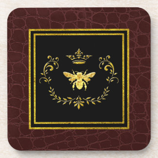 Gold Bee Crown Leather Pattern Coaster