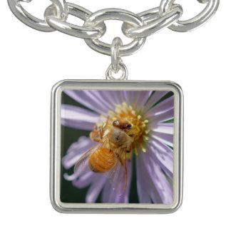 Gold Bee on a White Flower Bracelet