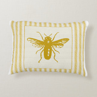Gold Bee with Ticking Decorative Pillow