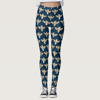 Gold bees on teal green background leggings