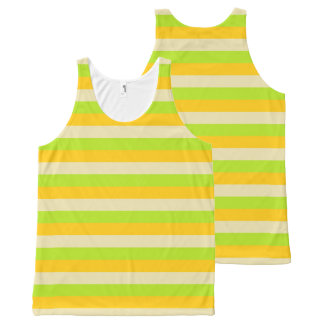 Gold, Beige and Lime Green Stripes All-Over-Print Tank Top