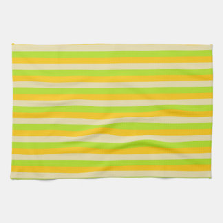 Gold, Beige and Lime Green Stripes Kitchen Towel