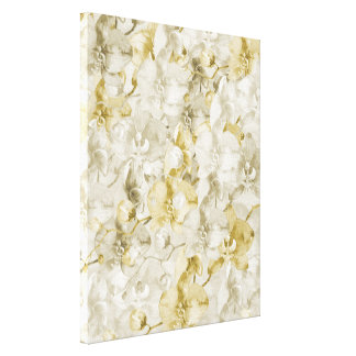 Gold Beige Cream Watercolor Orchid Flowers Canvas Print